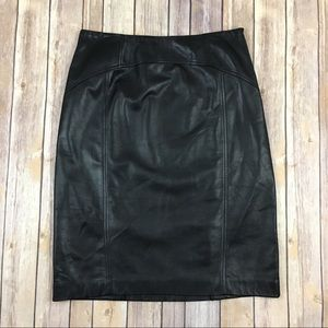 Talbots Black Leather Knee Length Pencil Skirt